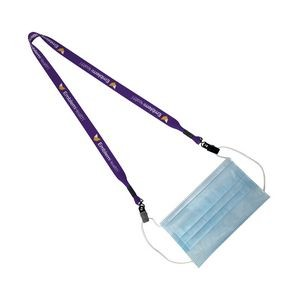 "3/4"" Polyester Dye Sublimated Double Metal Bulldog Clip Lanyard"